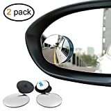 "Mr.Zz Blind Spot Mirrors, 2"" Round 360° Rotatable HD Frameless Glass, Convex Wide Angle Rear View Mirror for All Cars 2 Pack"