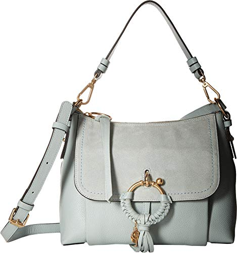 (See by Chloe Women's Joan Suede & Leather Small Shoulder Bag Icy Blue One Size)