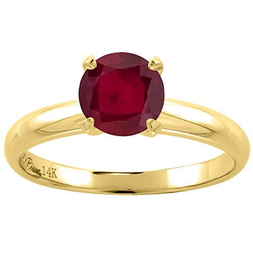 - 14K Yellow Gold Enhanced Genuine Ruby Solitaire Engagement Ring Round 7 mm, size 6.5