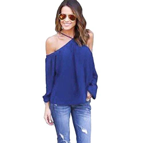 Manches Longues Blouse, Femmes Mode Irrégulière Bretelles Dessus de mousseline de soie T-shirt Bleu