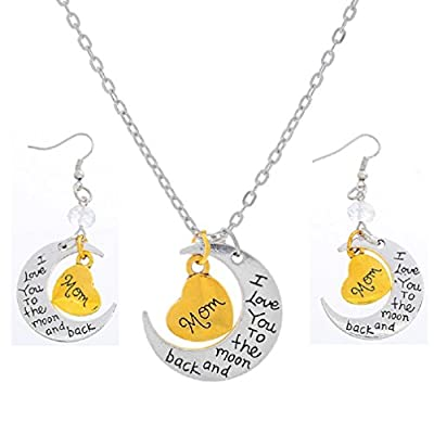 Xiehou Mom I Love You to the Moon and Back Engraved Heart Crescent Pendant Necklace Drop Earrings