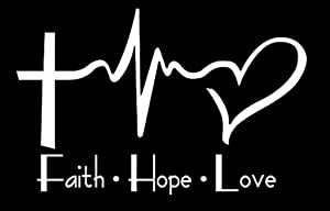 H-Tradings Faith Hope Love Heartbeat Decal White 6 x 4 in Approximately