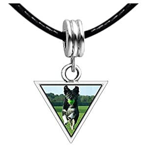 Chicforest Silver Plated Olympics black dog with tennis ball in mouth Photo Triangle Charm Beads Bracelets European Bracelets Compatible