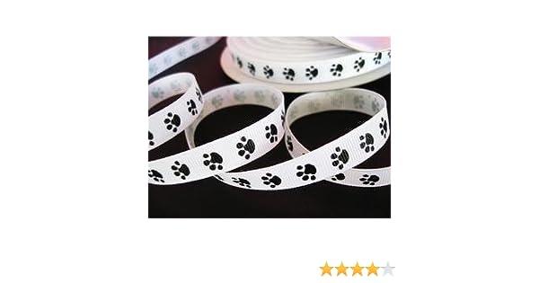 by www.embellishmentworld.com 25 yards Grosgrain 3//8 Ribbon Mini Dog Paw R74-White-Roll