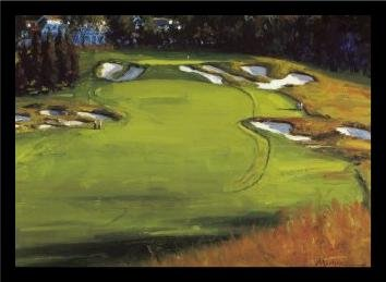 18th Hole Framed (buyartforless IF EM008 17x12 1.25 Black Plexi Framed 18th Hole Beth Page by Edward Martinez 17X12 Art Print Poster Golf Course Greens Final)
