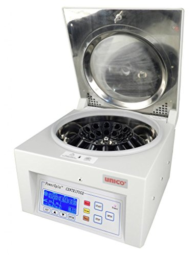 UNICO C8724 Model DX Centrifuge, 1000-3400 RPM Variable Speed with 0 RPM Safety Lid Latch, 60 Minutes Digital Timer, 24 Place Rotor, 24 x 10 mL or 16 x 15 mL Capacity, 110V