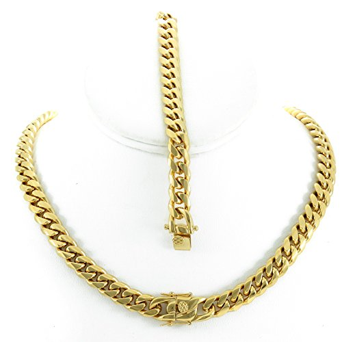 Solid 14k Yellow Gold Finish Stainless Steel 10mm Thick Miami Cuban Link Chain Box Clasp Lock (Chain 30'' & Bracelet (14k Gold Lock)