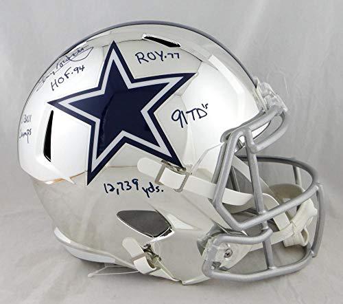 Tony Dorsett Autographed Dallas Cowboys F/S Chrome Helmet w/ 5 Insc -JSA W Auth Blue Dorsett Dallas Cowboys Autographed Helmet