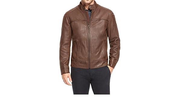 Stylish Men Biker Motorcycle Zipper Slim Fit Leather Casual Jacket A421