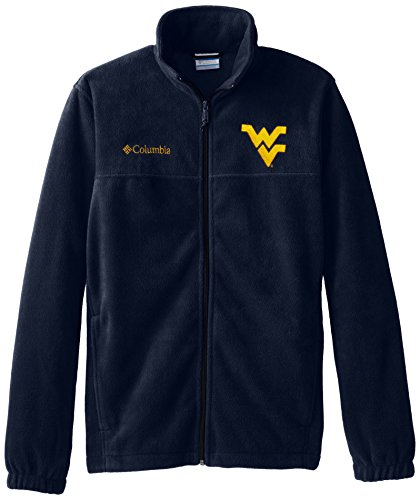 Fleece Mens Full Flanker Zip - NCAA West Virginia Mountaineers Men's Collegiate Flanker II Full Zip Fleece Sweater, Collegiate Navy, Small
