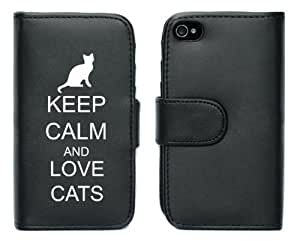 Black Apple iPhone 5 5S 5LP421 Leather Wallet Case Cover Keep Calm and Love Cats