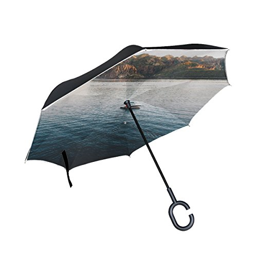 RH Studio Inverted Umbrella Boat Lake Sea Mountains Large Double Layer Outdoor Rain Sun Car Reversible Umbrella by RH Studio