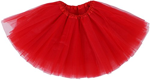 Toddler Red Tutu (Simplicity Little Girl Dressup Fairy Costume Princess Tutus w/ Elastic Waist,Red)