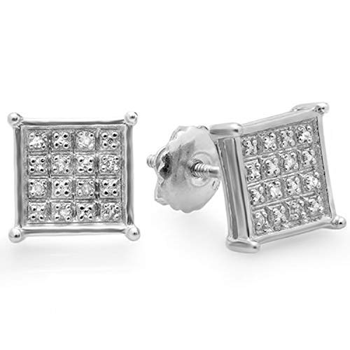 Dazzlingrock Collection 0.10 Carat (ctw) Real Diamond Square Shape Mens Hip Hop Iced Stud Earrings 1/10 CT, Sterling Silver