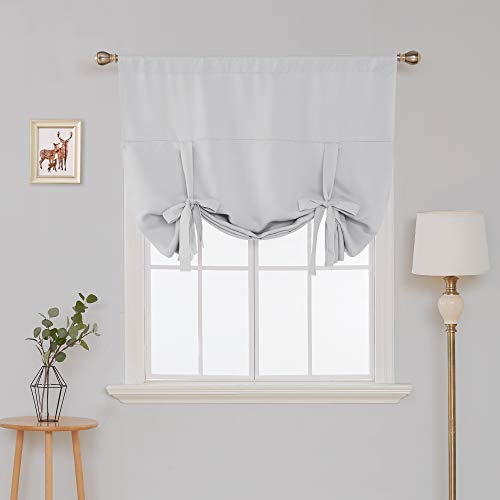Deconovo Blackout Curtain Tie Up Shade Window Panels for Living Room and Bedroom Greyish White 46W x 63 1 Panel (Up Blackout Tie Curtains)