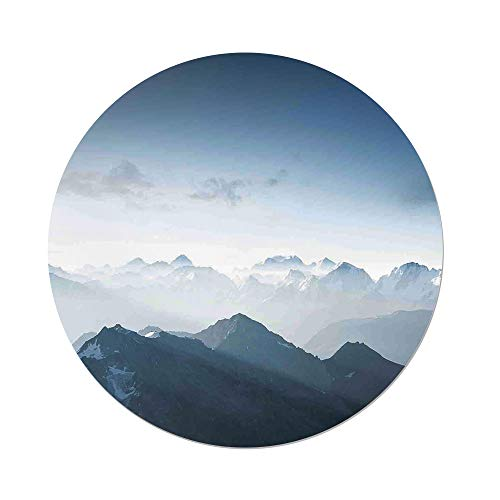 Ice Rock Climbing - Polyester Round Tablecloth,Farmhouse Decor,Fog Morning in Rock Mountain Region in Northern Hiking Climbing Ice Photo,Soft Blue,Dining Room Kitchen Picnic Table Cloth Cover,for Outdoor Indoor