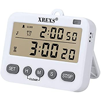 4 in 1 Kitchen Timer Digital Cooking Timer - XREXS Class Timer LCD Screen Clock Alarm Count up and Down Kitchen Timer for Cooking/Meeting/Learning/Yoga ...