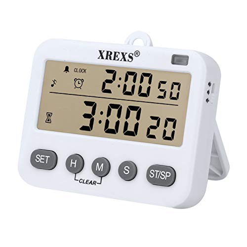 4 in 1 Kitchen Timer Digital Cooking Timer - XREXS Class Timer LCD Screen Clock Alarm Count up and Down Kitchen Timer for Cooking/Meeting/Learning/Yoga Batteries Included (218) ()