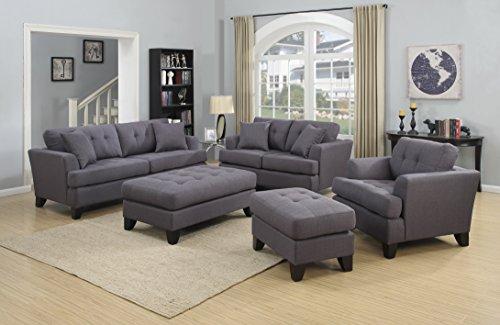 Porter Designs U1202B 3-Piece Contemporary Tufted Living Room Set, Gray