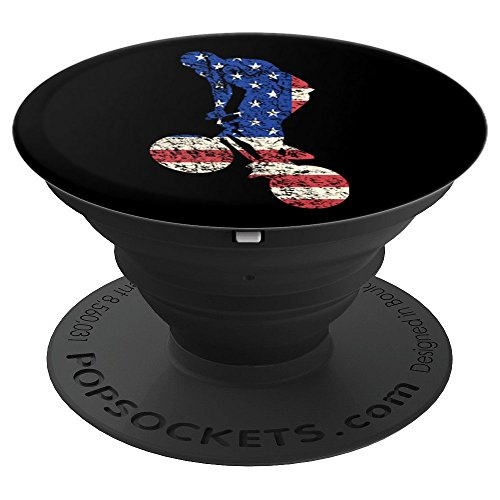 American BMX Rider USA Flag Trick Bike Freestyle Bicycle - PopSockets Grip and Stand for Phones and (Freestyle Bmx Riders)