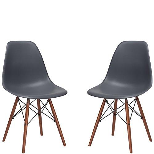 - Poly and Bark Vortex Side Chair Walnut Legs, Grey, Set of 2