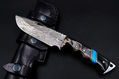 (Bmk-167 Chihuahuan Snake 11 Inches Long 6 Inches Blade 14 Ounce Damascus Gut Hook Hunting Fixed Blade Knife Damascus Hand Made Word Class Black Mamba Knives)