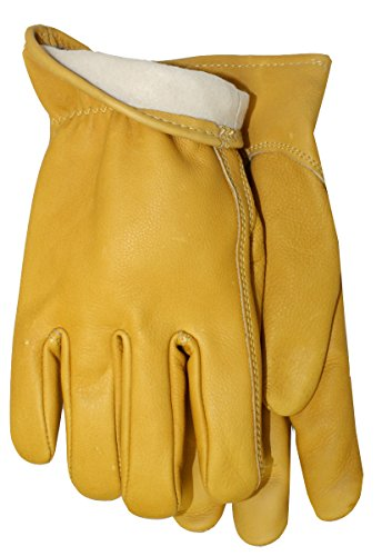 MidWest Gloves and Gear Smooth Grain Cowhide Leather Work Glove with Thinsulate Insulation, Large, Natural - Smooth Grain