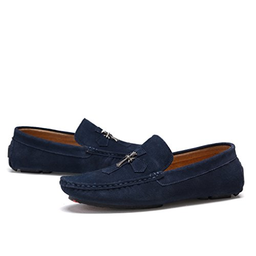 Work Shoes Comfort Moccasin Men's Loafers Sued Blue Cross TDA 0pvwIgx