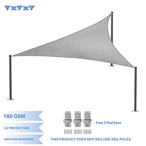 E K Sunrise 7 x 7 x 7 Light Grey Equilateral Triangle Sun Shade Sail Outdoor Shade Cloth UV Block Fabric,Curve Edge-Customized
