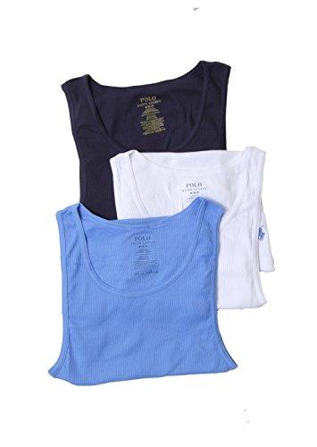 Polo Ralph Lauren Ribbed 100% Cotton Tanks - 3 Pack (Lctk) (Medium, Navy/Blue/White) (Ralph Polo Lauren Ribbed)