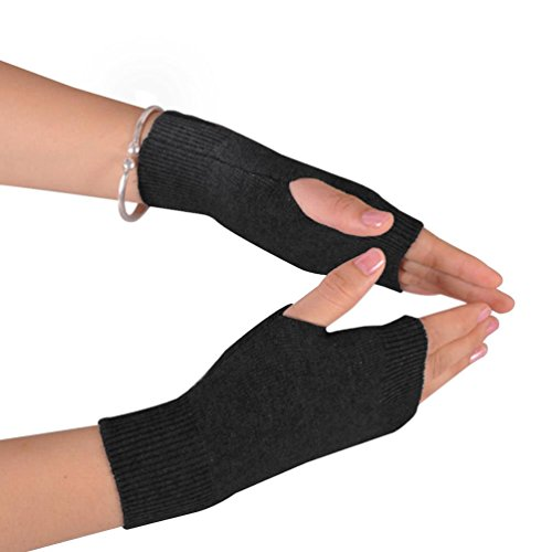 NOVAWO 100% Cashmere Half Fingerless Thumb Hole Warm Gloves Mittens for Men Women, Black