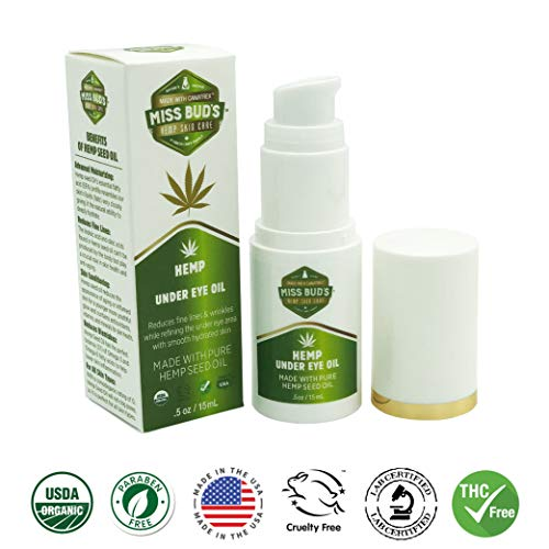Miss Bud's Hemp Eye Oil Reduce Fine Wrinkle Lines, Tone, Smooth and Deeply Moisturize Skin Made from Pure Hemp Seed Oil