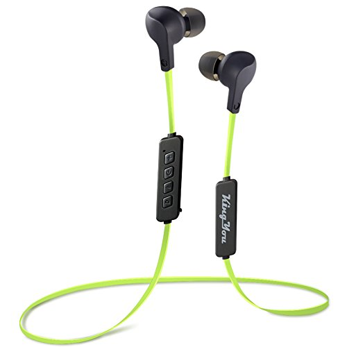 Bluetooth Headphones, Kingyou V4.1 Wireless Sport Earbuds Comfort Fit Bass Sweatproof In-Ear Magnetic Earphones with Microphone for Gym Workout Running Jogging 8 Hours Headset BT001S(Green)