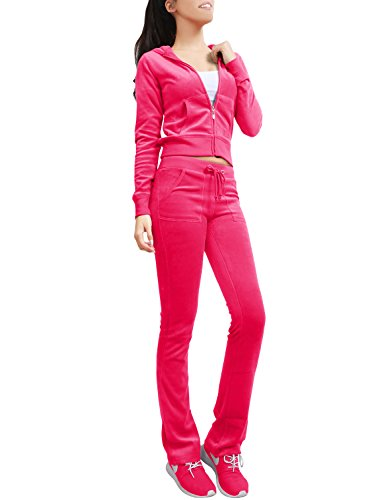 NE PEOPLE Womens Casual Basic Velour Zip Up Hoodie Sweatsuit Tracksuit Set S-3XL Rose