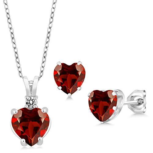 (Gem Stone King 3.67 Ct Heart Shape Red Garnet 925 Sterling Silver Pendant Earrings Set)