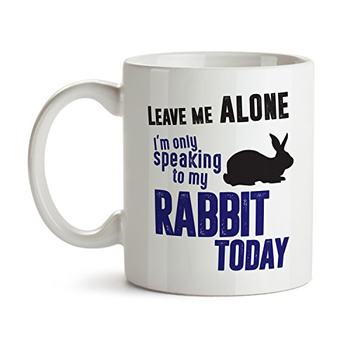 Leave Me Alone I'm Only Speaking to My Rabbit / Bunny Mug - Super Cool Funny and Inspirational Gifts 11 oz ounce White Ceramic Tea Cup - Cute Bugs Ultimate Travel Gear - Best Silly Joke Fun Sarcasm