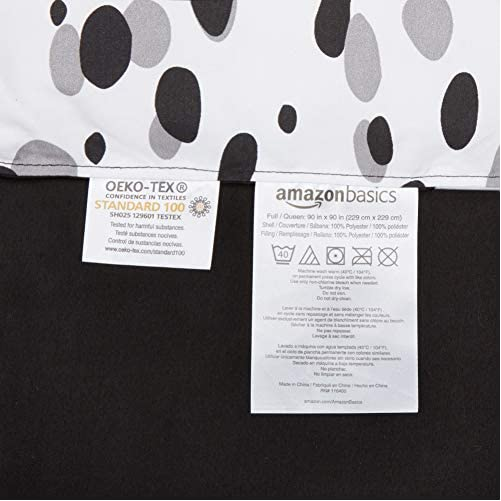 AmazonBasics Easy Care Super Soft Microfiber Kid's Bed-in-a-Bag Bedding Set - Full / Queen, Black Shadow Dots 4
