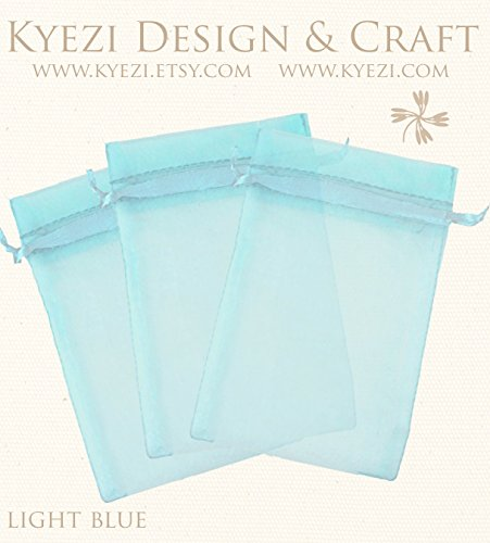 50 Pcs Light Blue 3x4 Sheer Drawstring Organza Bags Jewelry Pouches Wedding Party Favor Gift Bags Gift Bags Candy Bags [Kyezi Design and Craft]