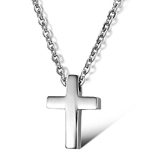 High Polish Cross Necklace (Womens Silver Titanium Steel High Polish Simple Petite Glossy Cross Pendant Necklace 16 Inch)