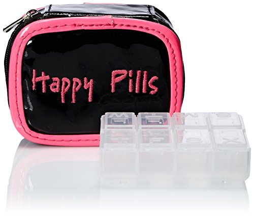 Miamica Case Happy Pills Packing Organizers, Black/Pink