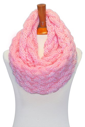 Basico Women Winter Chunky Knitted Infinity Scarf Warm Circle Loop Various Colors (Chunky Baby Pink)