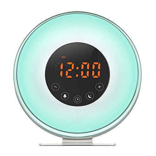 IYOUBOL Sunrise Alarm Clock , Sunlight Alarm Clocks a Wake Up Light Alarm Clock for Teen Toddler, Night Light Cool Lamps with 6 Colors Touch Control Switch FM Radio Snooze Function for Heavy (Teen Light)