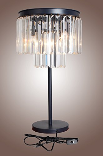 Luxe Crystal Table Lamp Faceted Glass Three Layered Table Accent Lamp Bronze Iron Frame Fringe