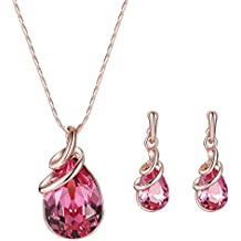 Kanggest Bridal's Tears Wedding Necklace Earrings Set Artificial Crystal Forever's Love Jewelry Set for Ladies Girls, Ideal Valentine's Gifts-Red