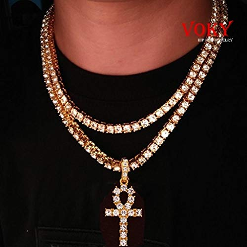 Naomi Voky Jewelry Cool Mens Hiphop Gold Silver Black Full Iced Out Crystal AAA CZ Cross Pendant & 20