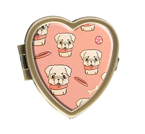 Cute Little Pug Puppy and Bone Design Bronze Pill Case Box Western Medicine Tablet Holder Decorative Bronze Pill Box for Pocket or Purse
