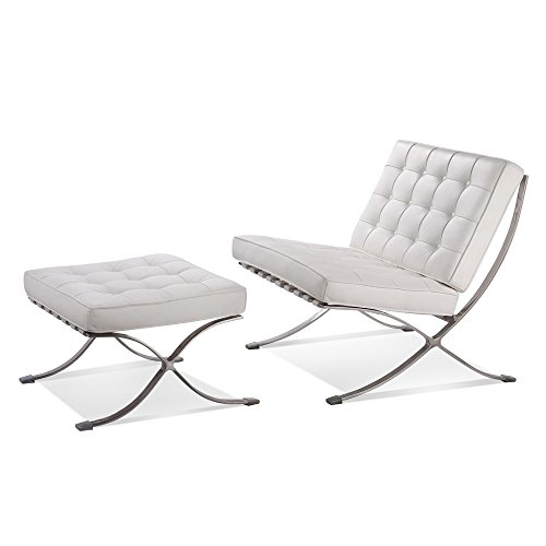 Barcelona Sofa (ArtisDecor Premium Lounge Chair and Ottoman Made with Top Grain Italian Leather - White)
