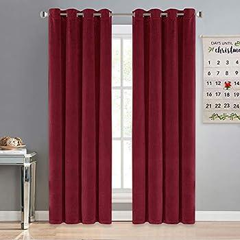 NICETOWN Red Velvet Curtains Drapes - Super Soft Luxury Velvet Grommet Top Room Darkening Drapes for Christmas & Thanksgiving Decor (1 Pair, W52xL84 inches, Ruby Red)