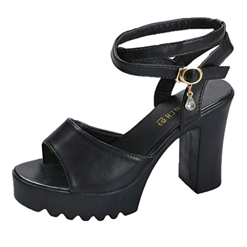 Women Summer Casual Platform Sandals Peep Toe Non-Slip Ankle Strappy High Chunky Heel Cross Belt Shoes Pumps by Lowprofile Black