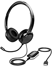3.5mm/USB Headset with Microphone Noise Cancelling, Lightweight PC Computer Headset Wired Business Headphones in-line Control with Mute for Skype Webinar Call Center Office (Black)